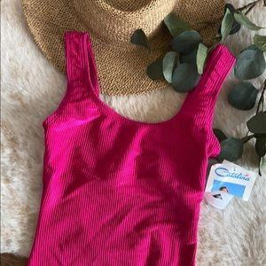 Catalina pink ribbed one piece swimsuit size M